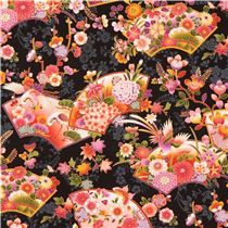 black beautiful colorful Asia fan flower butterfly gold metallic fabric