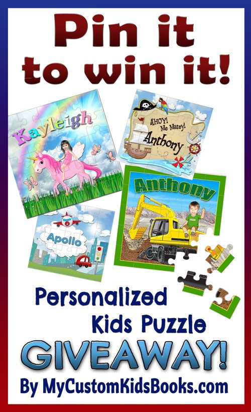 Personalized Kids Puzzle GIVEAWAY! Pin it to win it! Great gift ideas from My Custom Kids Books! Just re-pin to enter for a chance to win your free customized children's puzzle. Winner announced March 27th, and 24hr sale on the 28th. Check out more great gift ideas at www.mycustomkidsbooks.com