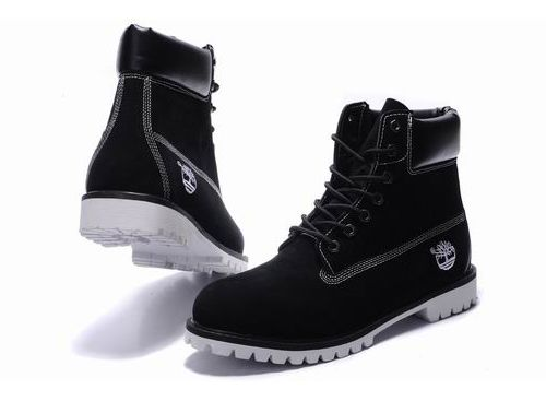 Mens Timberland 6 Inch Boots Nubuck Black White Sole ...
