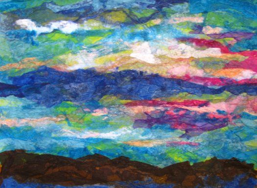 Tissue paper collage-- Hudson River sunset