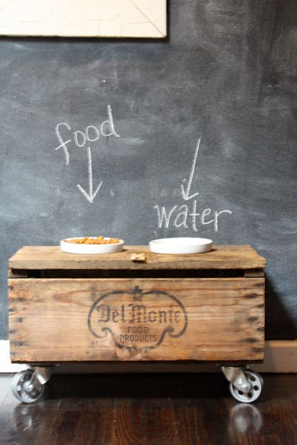 How to turn an old wood crate into an elevated pet feeder, courtesy of ...