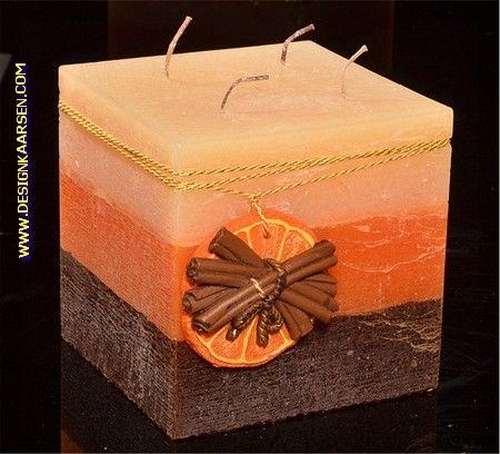 Sinaasappel-Kaneel kaars, Vierkant, 4 pitten