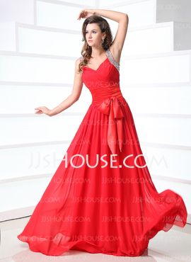A-Line/Princess V-neck Floor-Length Chiffon Charmeuse Prom Dress With Ruffle Beading (018017374) - JJsHouse