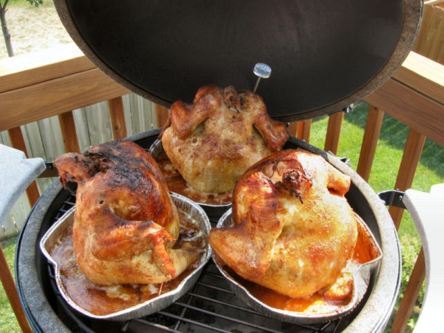 Big Green Egg chickens