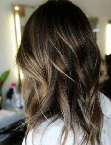 Blonde highlights on dark brown hair
