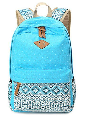 Dosane Cool Blue Canvas Dot Printing Lightweight School Backpacks for Teens Girls and Boys >>> To view further for this item, visit the image link.