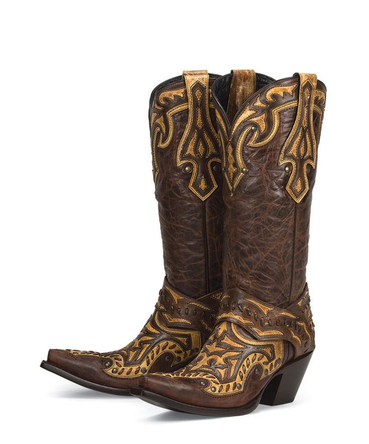 New leather BROWN w/ inlays+overlays womens ladies cowboy boots - amazing price! | Clothing, Shoes & Accessories, Women's Shoes, Boots | eBay!