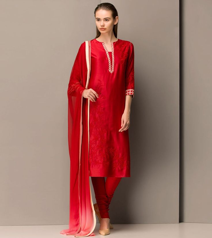 #Red #Chanderi #Silk #Embroidered #Churidar #Suit at #Indianroots