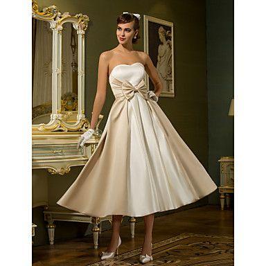 A-line Princess Sweetheart Tea-length Satin Wedding Dress (710749) – USD $ 67.99