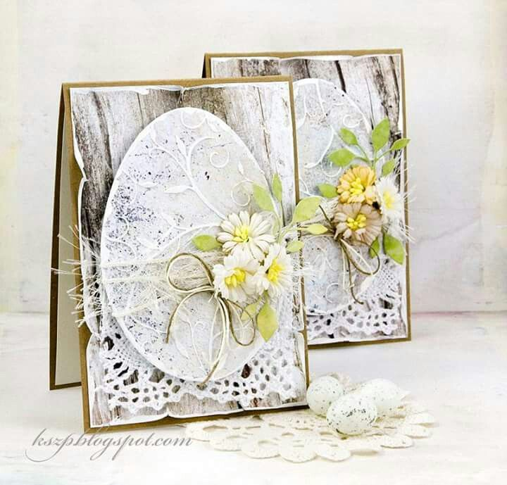 card flowers leaves easter egg doily lace barder woodplank wood  spring
