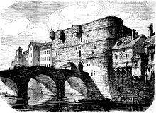 Le Petit Châtelet, construit par Louis VI vers 1130, emporté par la Seine en 1296, reconstruit par Charles V en 1369 et finalement démoli en 1792.