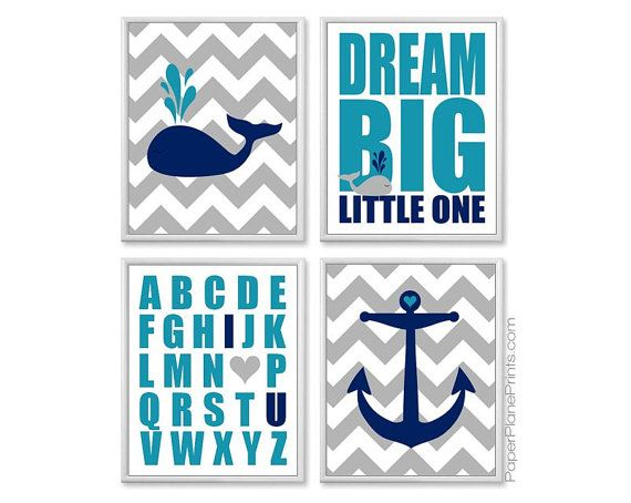 Nautical Baby Decor Whale Nursery Pictures by PaperPlanePrints
