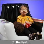 Star Trek inflatable captain's chair from Think Geek. My students would flip out if I put this in our space themed classroom!