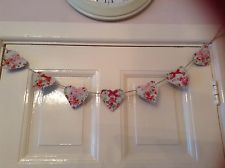 Mini Heart Bunting Country Cottage Vintage Cream Floral Kitchen Shabby Chic Rose