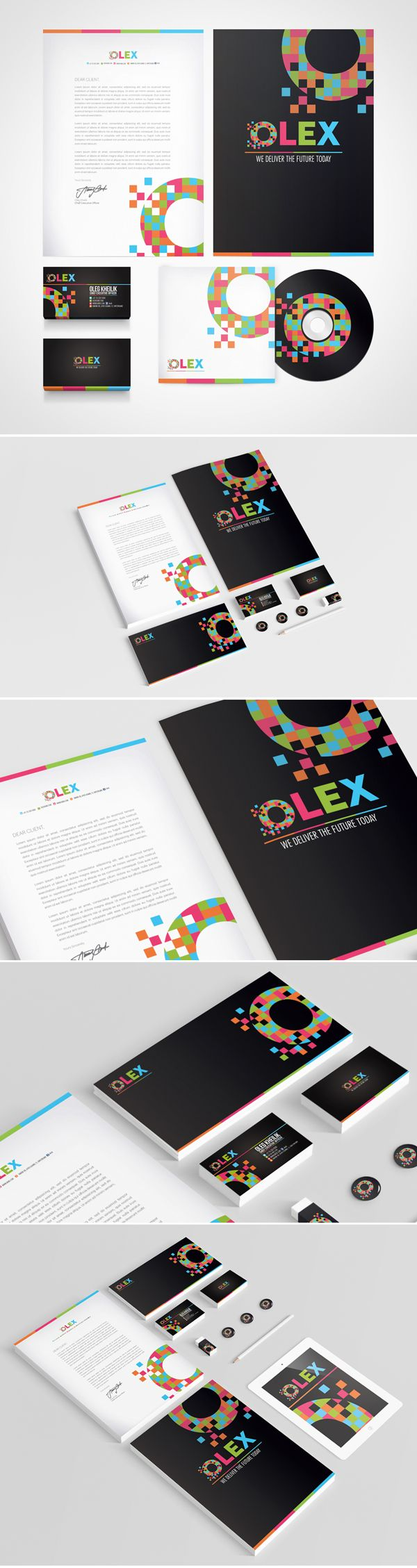 "OLEX personal identity is a branding project for the CEO of OLEX. Pixillation of ""O"" in creating the entire branding stationary for OLEX."