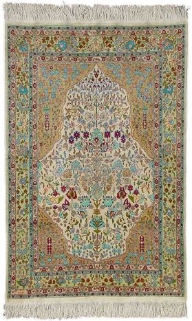 Turkish Rugs - Hereke Silk Carpet Width 87.00 cm (2,85 Feet) Lenght 134.00 cm (4,40 Feet)