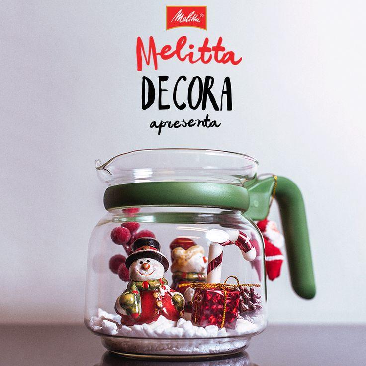 As Jarras Melitta também podem ser usadas na decoração de Natal da sua casa! Inspire-se com essa sugestão, use sua criatividade para escolher os enfeites e faça você mesmo em casa! ;-)