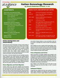 Genealogy at a Glance: Italian Genealogy Research; by Sharon Debartolo Carmack