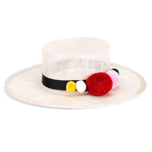 Natasha Zinko Pom Pom Trim Straw Hat (€425) ❤ liked on Polyvore featuring accessories, hats, black summer hat, beige hat, colorful hats, summer straw hats and straw hat