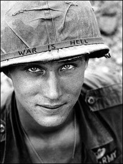 The contrast of this soldier's statement and his eyes provide an uneasiness to the viewer.