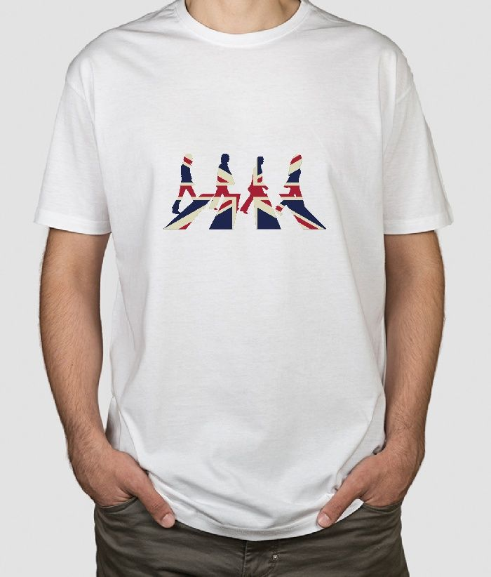 #Beautiful and original #Tshirt of the famous walk of the #rock group #Thebeattles to the colors of the UK.