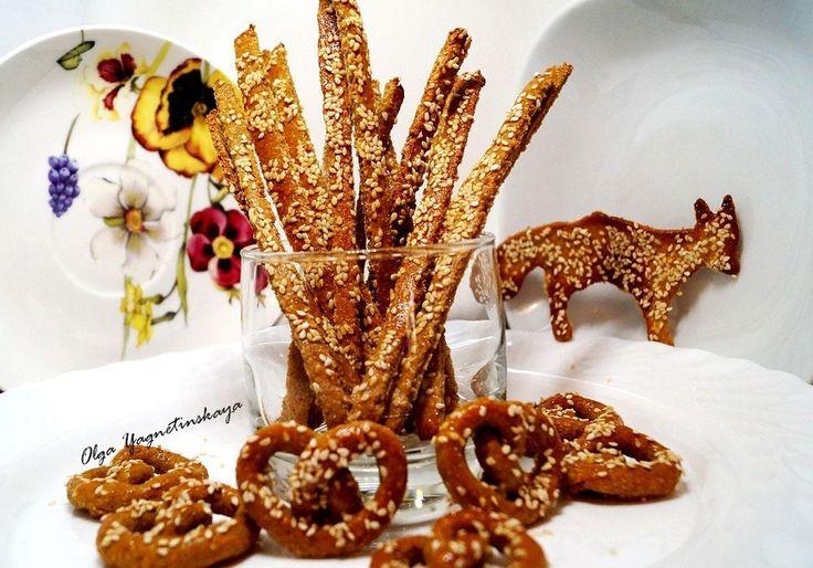 Диетические крекеры – хрустяшки или хрустящие луковые диетические хлебные палочки с кунжутом без муки!!!