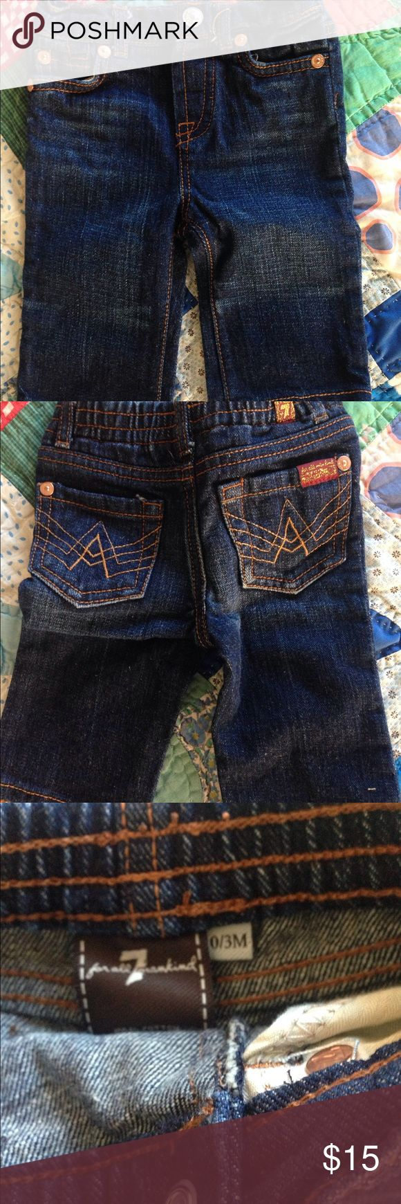 Seven for all man kind jeans 0-3 months Excellent condition, never worn. Seven jeans, size 0-3 months. Seven7 Bottoms Jeans