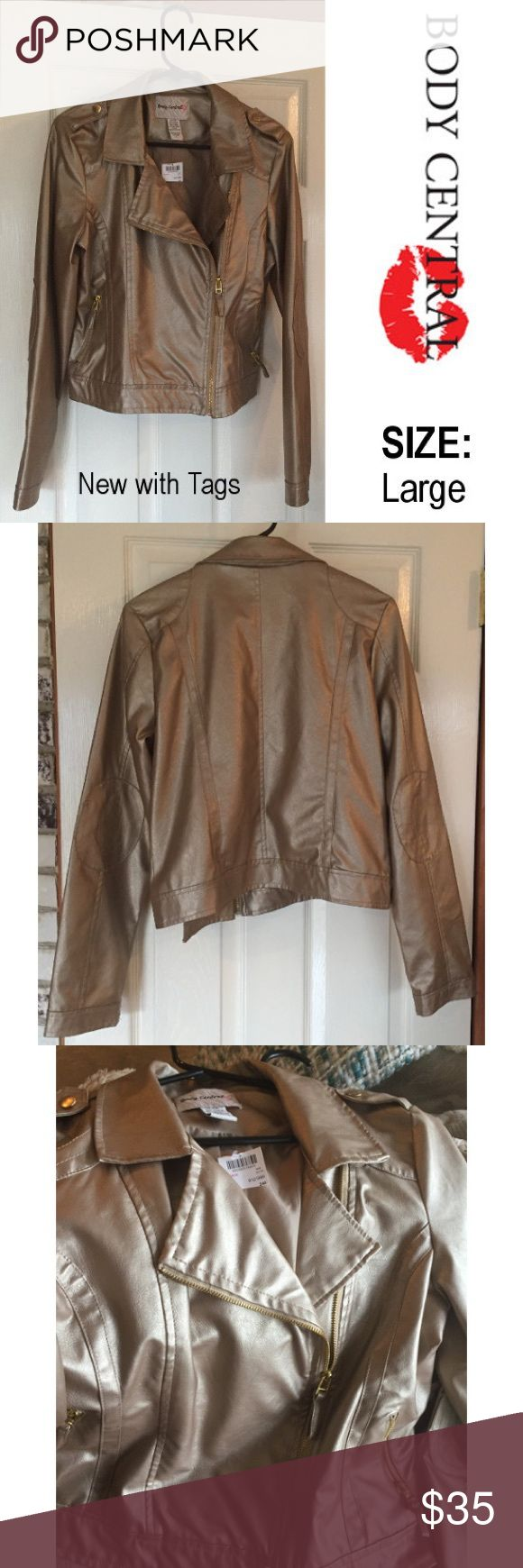 "NWT Soft Gold Body Central Moto Jacket - Large NWT Beautiful soft gold Body Central vegan leather jacket. Nicely cut, this Moto jacket is stunning.  Outer shell is 100% Polyurethane. Inner lining is 100% Polyester. Tag Size Large. Approx. measurements: Length - 21"", Width (underarm to underarm) - 20"", Sleeve length (underarm to end of cuff) - 19"". Body Central Jackets & Coats"