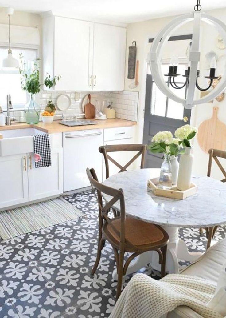 White Kitchen Design With a Feminine Tile