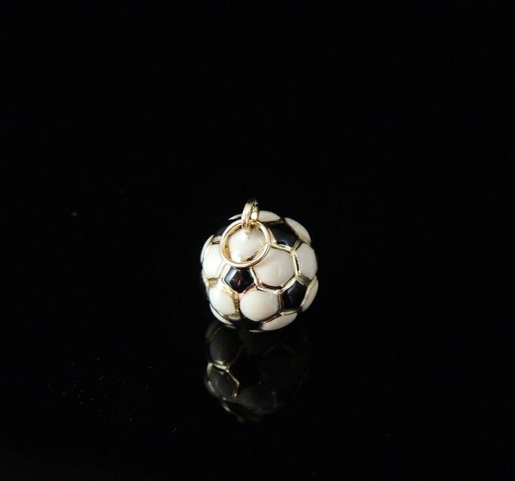 NEW Vintage SOCCER Ball Enamel & 14k PENDANT - Perfect GIFT for Him or Her!