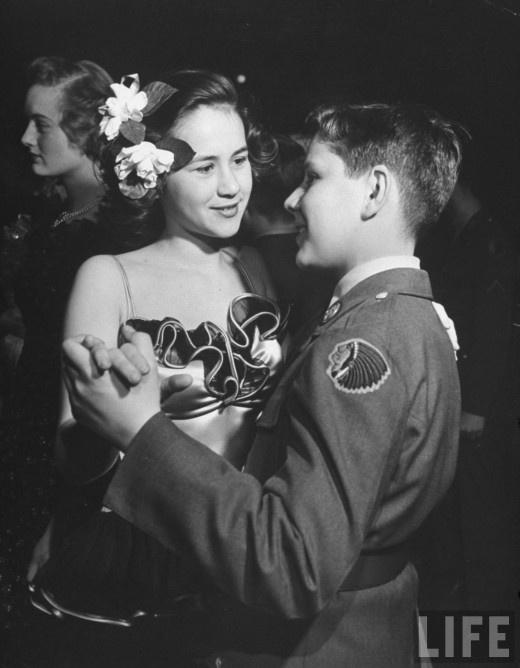 Charming young gentleman, Southwest High School Kansas City ROTC Ball, LIFE magazine, 1945. Photo by Myron Davis.