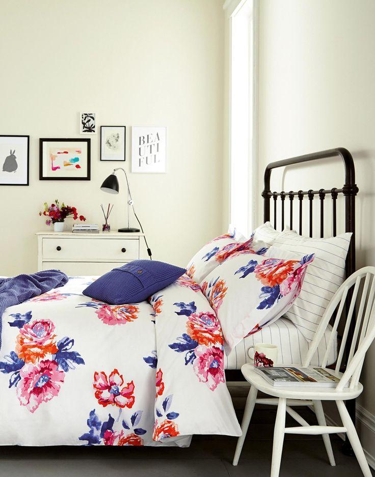 Rose White Rose Duvet Cover | Joules UK