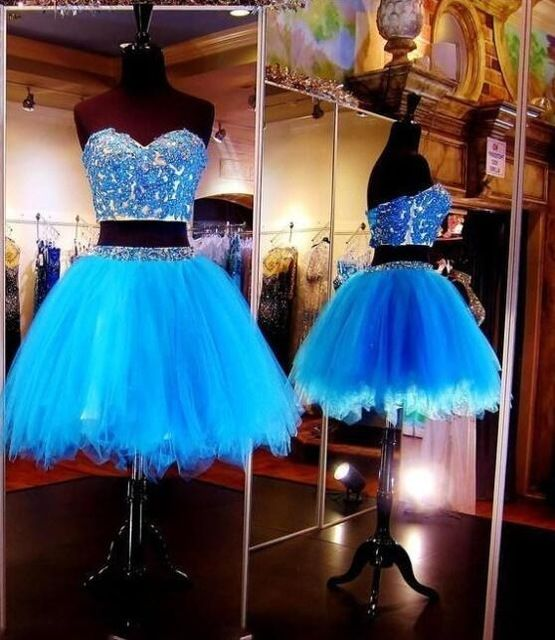 Two Pieces Royal Blue Homecoming Dresses Short Prom Gowns A-line Sweetheart Short Mini Appliques Beaded Lace Cocktail Dresses