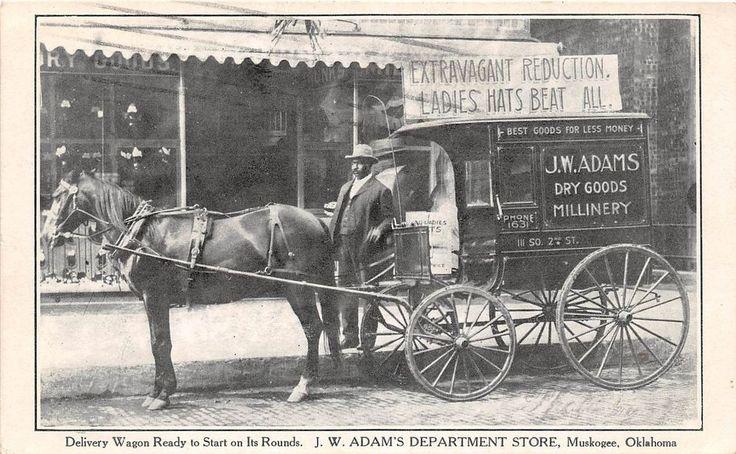 Barber Shop Norman Ok : B64/ Muskogee Oklahoma Postcard 13 Delivery Wagon Black Americana ...