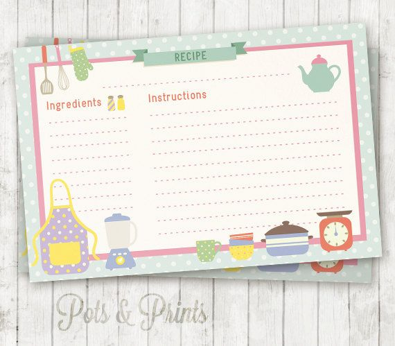Printable Recipe Card Cute Kitchen Recipe Cards 6x4 Inches And 5x3 Inches To Print And Write Your Recipes Recipe Cards Printable Cards Printable Recipe Cards