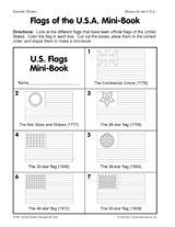Flags of the U.S.A. Mini-Book Printable - Celebrate Flag Day (June 14) or Independence Day by making a mini-book that highlights seven different versions of the official U.S. flag from 1776 to present day. #FlagDay #UShistory #socialstudies