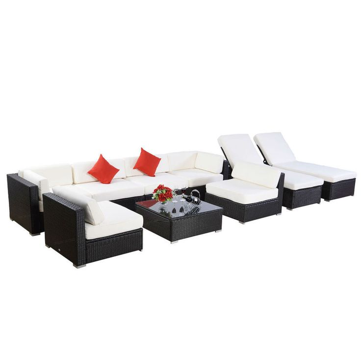 9pc Outdoor Patio Furniture Rattan Wicker Sectional Sofa Chair Couch Set Deluxe in Home & Garden, Yard, Garden & Outdoor Living, Patio & Garden Furniture   eBay