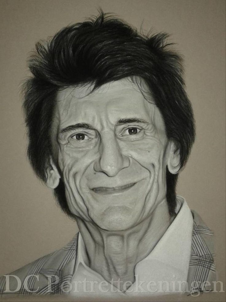 """Ron Wood"" realistic portrait drawing made with pastelpencils"