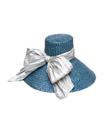 Mirabel Straw Sun Hat w/ Large Satin Bow, Blue by Eugenia Kim at Bergdorf Goodman.