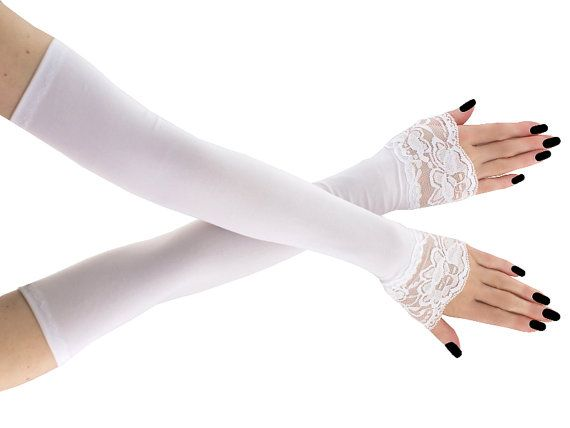 Bridal white lace fingerless gloves bridal by FashionForWomen