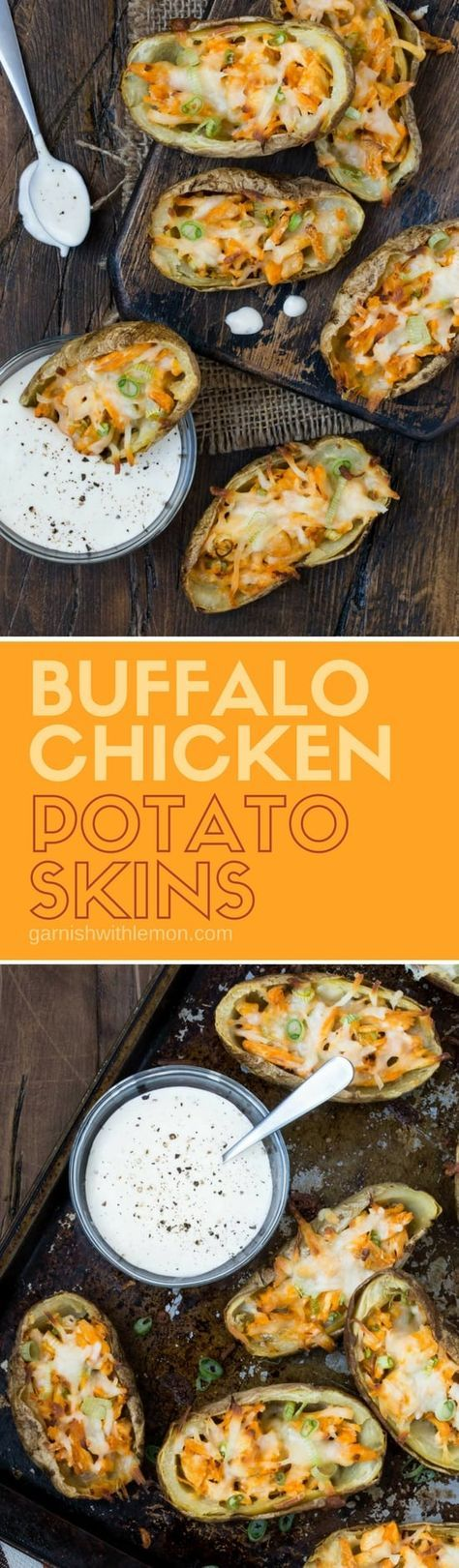 Who needs to go out when you can make restaurant quality Buffalo Chicken Potato Skins at home? And its just an added bonus that they are baked not fried so you save on calories too! #buffalochicken #potatoskins #potatoes #appetizers #snacks #partyfood
