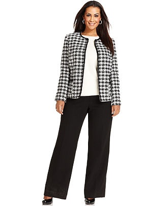 Tahari by ASL Plus Size Suit, Houndstooth Jacket & Solid Pants - Plus Size Suits & Separates - Plus Sizes - Macy's