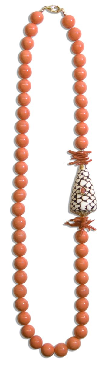 Helga Wagner Coral Color Mother of Pearl Beads with Red Branch Coral, Marble Cone Shell and Red Coral Cabochon