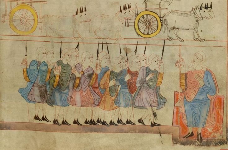 Joseph's Brothers Return to Jacob, Anglo-Saxon Hexateuch, British Library, MS Cotton Claudius B IV