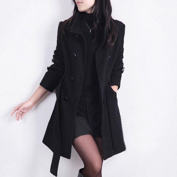 2016 New Women Trench Woolen Coat Winter Slim Double Breasted Overcoat Winter Coats Long Outerwear for Women