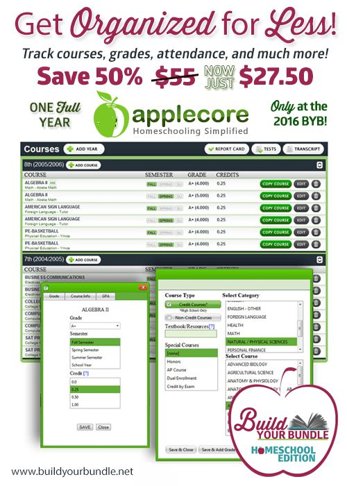 11 best homeschool discounts images on pinterest homeschooling a simple way to track grades and create transcripts fandeluxe Choice Image
