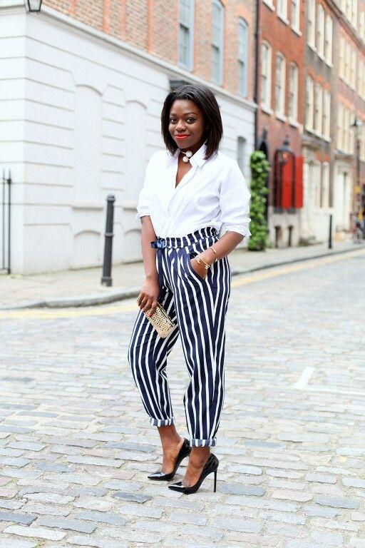 Fisayo Longe in stripes