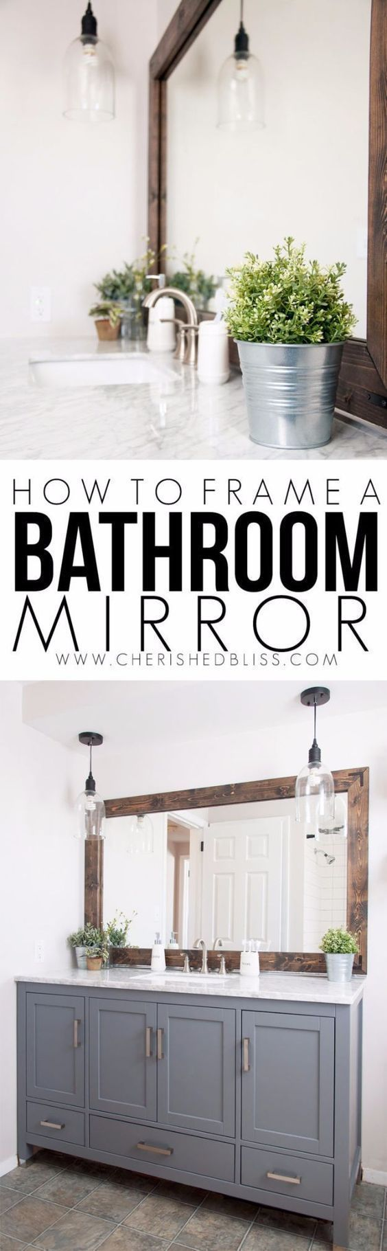 DIY Remodeling Hacks - Frame a Bathroom Mirror - Quick and Easy Home Repair Tips and Tricks - Cool Hacks for DIY Home Improvement Ideas - Cheap Ways To Fix Bathroom, Bedroom, Kitchen, Outdoor, Living Room and Lighting - Creative Renovation on A Budget - D #kitchenrenovations #homeremodelingdiy #livingroomideasonabudget