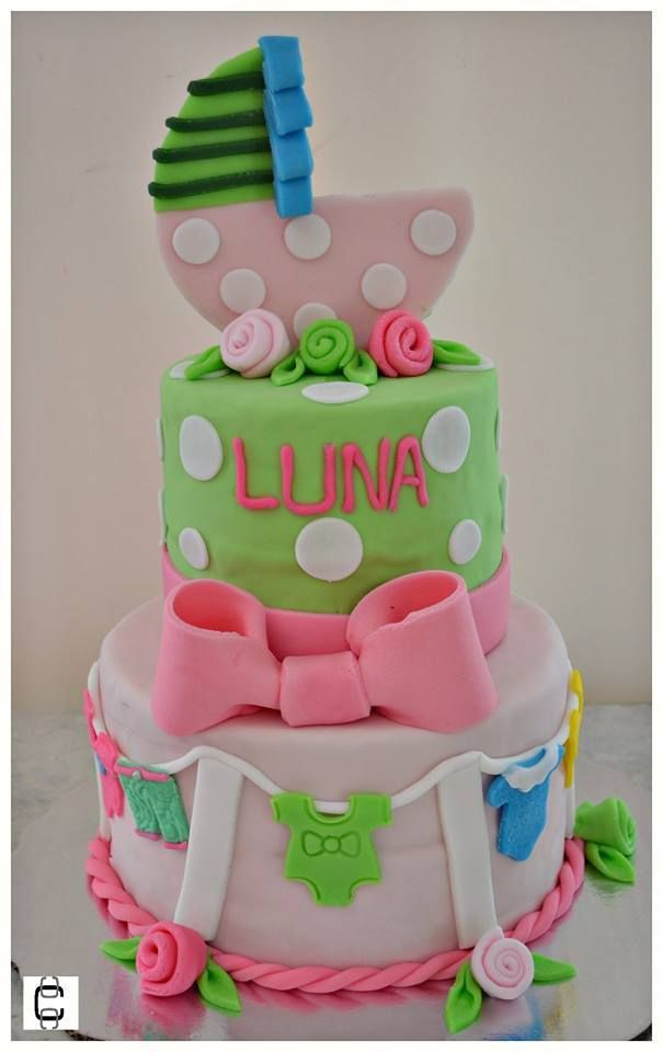 Girl Baby Shower Party Ideas / Girl Baby Shower Cake Ideas / Baby Carriage  Cake/