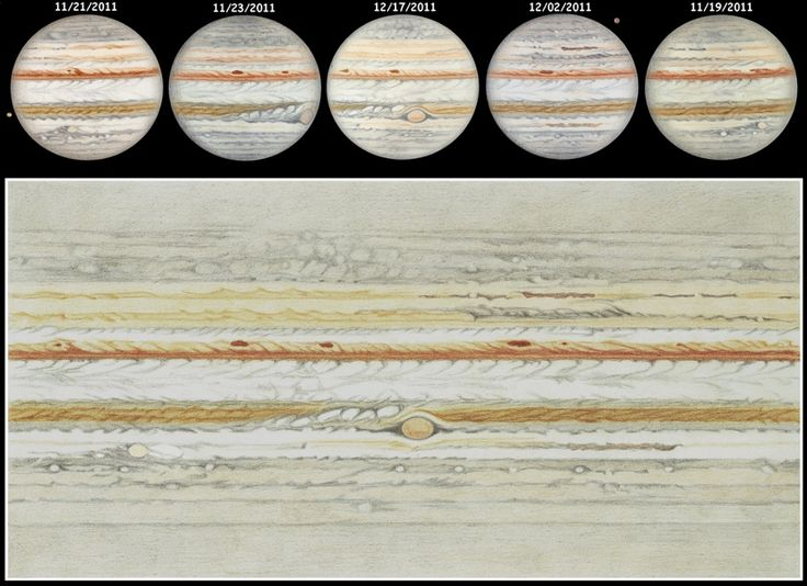 Jupiter, as seen through a 16-inch diameter telescope.  Oh, and these aren't pictures.  They're drawings.  Wow!Drawn Sketches, Flats Maps, Colors Pencil Drawing, Handdrawn Planisph, Hand Drawn, Colored Pencils, Clouds Tops, Hands Drawn, Details Flats